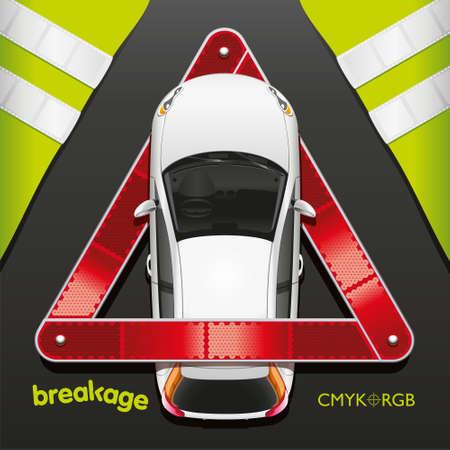 Rood Driehoek Noodgevallen Teken In De Buurt Van Gebroken Auto