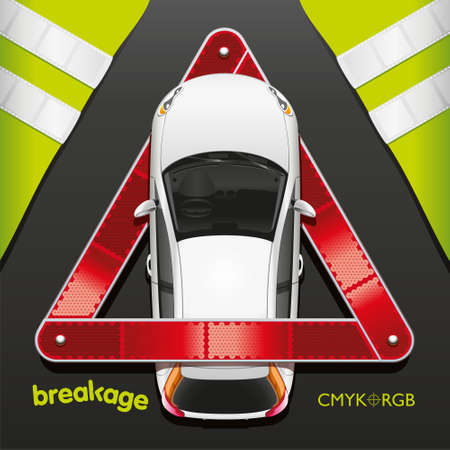 breakage: The car in a breakdown triangle with protective vests