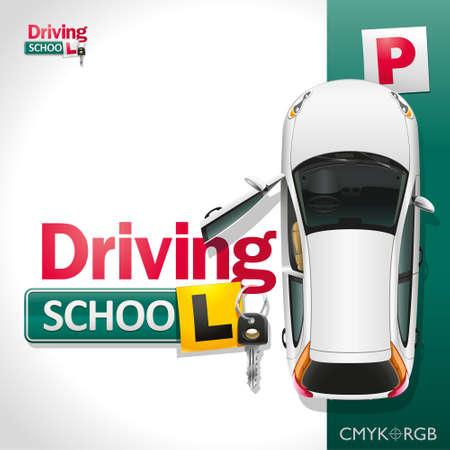 El coche blanco en el aparcamiento verde invita a ser entrenados en la escuela de conducción Ilustración de vector