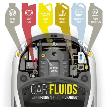 Quels fluides doivent être changés sous le capot de la voiture? Vecteurs
