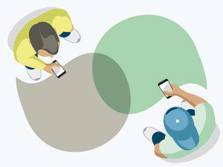 Zwei moderne Leute unterhalten sich. Draufsicht auf einem weißen Hintergrund. Vektorgrafik