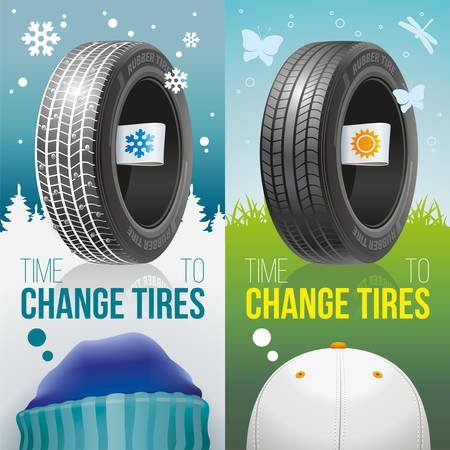 Two colourful advertizing banners of winter and summer tires with labels of seasons.