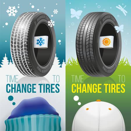 Twee kleurrijke reclamebanners van winter- en zomerbanden met seizoenslabels.
