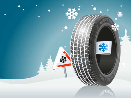 The winter tire is ready to the winter road. An automobile tire against the background of snow and the sign about the snow road.
