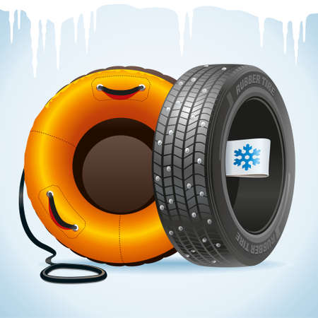 Winter tire with a winter label together with a snow tubing remind of change of tires. 矢量图像