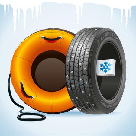 Winterreifen mit Winteretikett und Schneeschlauch erinnern an Reifenwechsel.