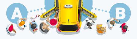 Het passagiersverkeer van mensen gaat door de auto van de taxidienst