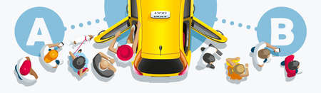The passenger traffic of people passes through the car of taxi service Illustration