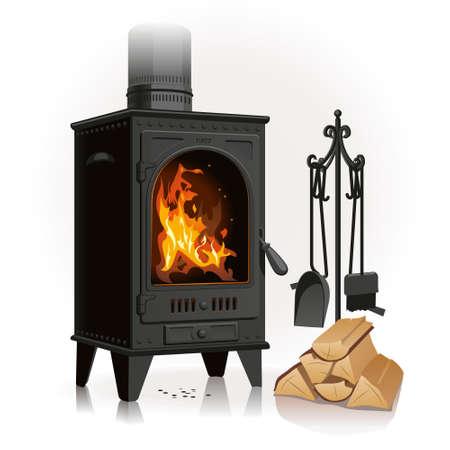 Der alte Roheisenkamin erfreut mit einer schönen hellen Flamme in der Nähe einer Verknüpfung von Brennholz und Hinterlassen von Zubehör.