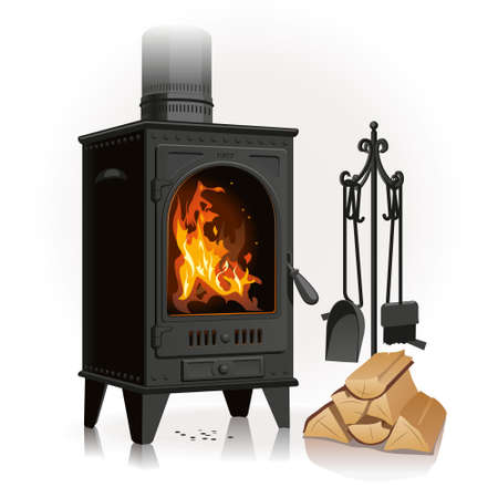 The old pig-iron fireplace pleases with a beautiful bright flame near a linking of firewood and leaving accessories.