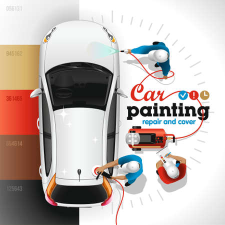 Painting, varnishing and polishing of body of the light car at the station of painting and service by skilled workers Imagens - 123275792
