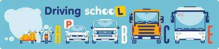 Der Roller, das Motorrad, das Auto, der Mikrobus, der Auto-LKW, der Bus stehen in einer Reihe und zeigen die Kategorien der Ausbildung der Fahrer in der Fahrschule.