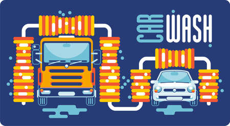 The truck and the car are washed with brushes with foam on automatic car wash. Front view. Illustration