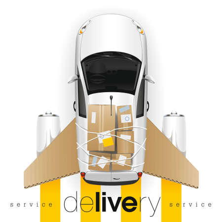 Completely loaded white car of the delivery service with cardboard side panels and aviation engines quickly and in time will deliver any freight. Illustration
