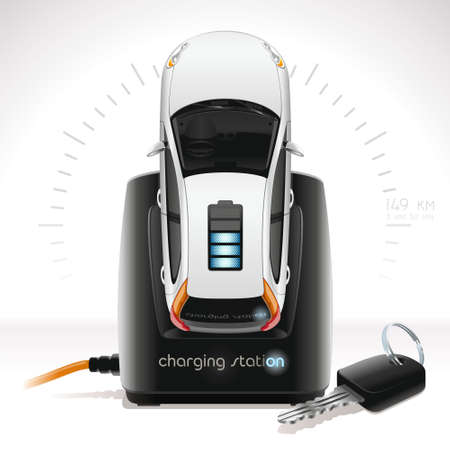 The white electric vehicle is charge at the black station of recharge as ordinary phone. Nearby the key from the electric vehicle lies. To recharge the electric vehicle battery also simply as phone.