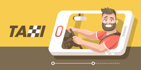 The driver of the car goes in the smartphone and smiles from window, holding two hands wheel. Illustration
