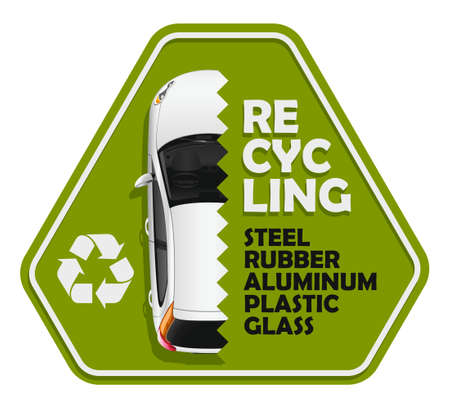 The sign of the deep recycling of the vehicle on the specified components Ilustração
