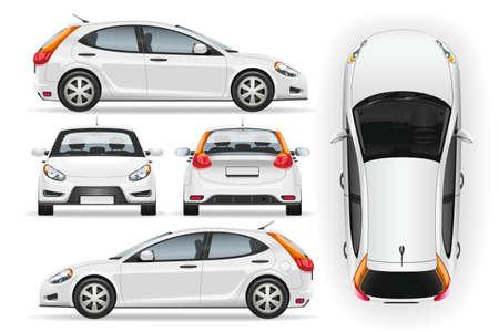 Samochód wektor szablon na białym tle. Biznesowy hatchback na białym tle. Makieta marki pojazdu. Widok z boku, z przodu, z tyłu, z góry.