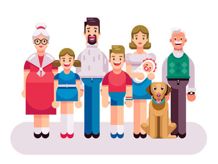 Flat illustration of three generations of one big happy multi-age family standing next to each other Ilustração