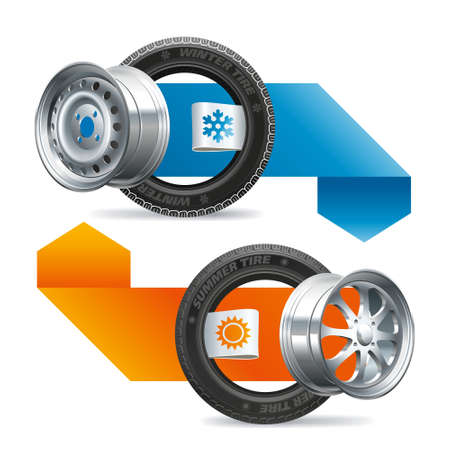 Car tires with labels indicating the season of use summer and winter in a composition with indicating arrows.