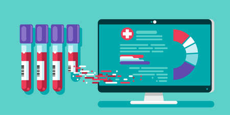 The results of clearly deciphered medical tests can be viewed online on a PC. Vector illustration, flat cartoon clinical checklist document with checkbox, insurance or medicine service concept, prescription record.