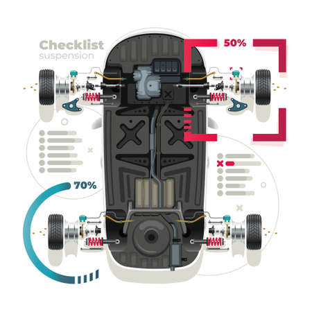Infographics diagnostics of car suspension parts. Professional car service concept. View from above.