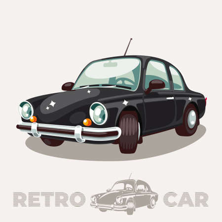 The old black car of the mid-twentieth century is half a turn in perspective.  イラスト・ベクター素材