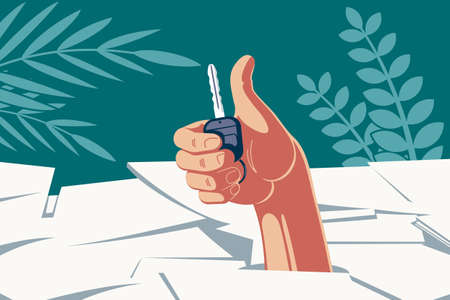Successful deal with a vehicle. A hand with a car key in the palm, breaking through a pile of documents, shows a thumb up indicating successful paperwork.