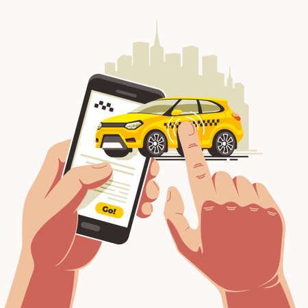 Order a yellow taxi car via an app on a smartphone in one touch. The finger carries the cab directly to the destination.