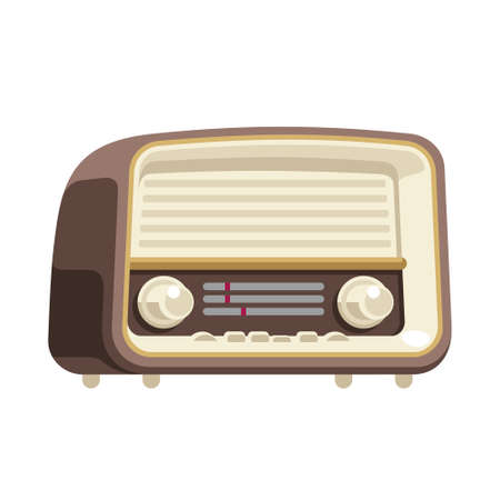 Flat style illustration of an old radio receiver of the last century