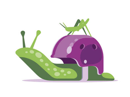 The cute snail has chosen an unusual and reliable home for life and travel. Illustration