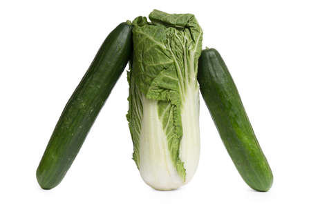 Peking cabbage and two cucumbers isolated on white background. Zdjęcie Seryjne