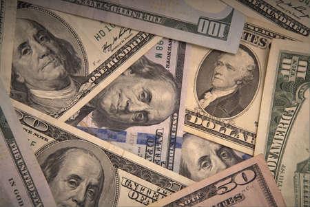 background of dollar bills, full screen, closeup. Imagens