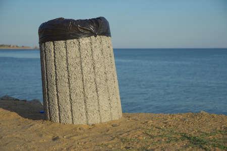 trash can near the sea or ocean, selective focus.