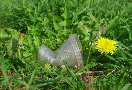 Used plastic cup and yellow dandelion flower, selectivw focus, environmental issues of plastic litter. Reklamní fotografie