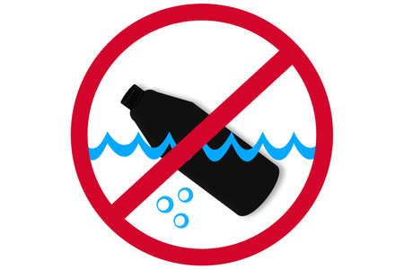 Stop water pollution sign, black plastic used botte in the water on red prohibition sign.
