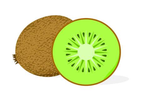 Whole kiwi fruit with half of it, sliced segment on a white background.