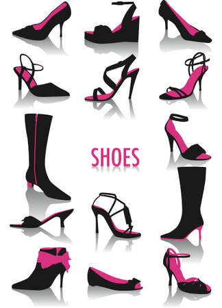 Two-tone vector silhouettes of woman shoes, part of a collection of fashion and lifestyle objects