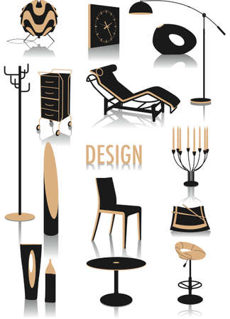 Two-tone vector silhouettes of design objects, part of a collection of fashion and lifestyle objects Vector