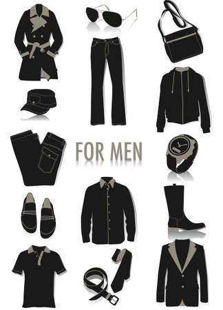 Two-tone vector silhouettes of objects for men, part of a collection of fashion and lifestyle objects Vector