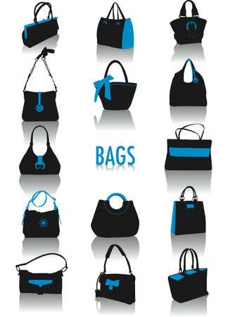 2 つのトーンのベクトル シルエット バッグ、ファッションやライフ スタイルのオブジェクトのコレクションの一部