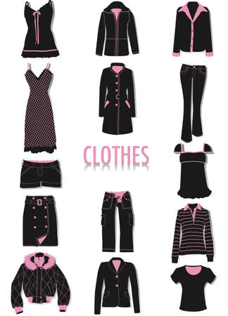 Two-tone vector silhouettes clothes, part of a collection of fashion and lifestyle objects