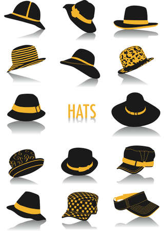 buckles: Two-tone vector silhouettes of hats, part of a collection of fashion and lifestyle objects Illustration