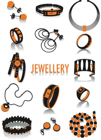 Two-tone vector silhouettes of jewellery, part of a collection of fashion and lifestyle objects