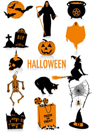Two-tone silhouettes of Halloween objects, part of a new collection of lifestyle objects  Illusztráció