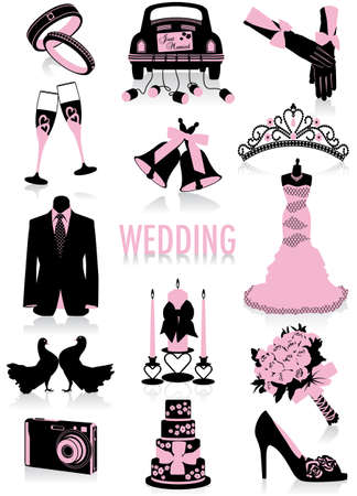 Two-tone silhouettes of wedding objects, part of a new collection of lifestyle objects  Vector