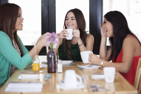 Beautiful female friends hanging out in a coffee shop