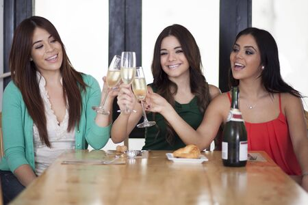 best: Best friends celebrating with champagne