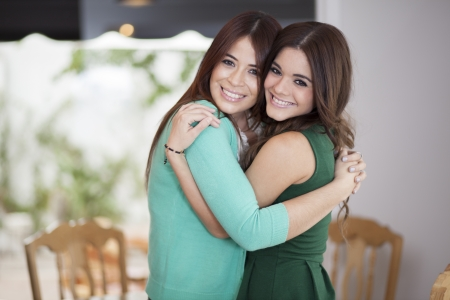 Best friends hugging each other   photo