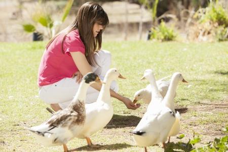Cute young woman feeding ducks in a farm photo